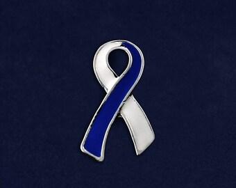 Large Flat Blue & White Ribbon Pin (RETAIL) (RE-P-25-25A)