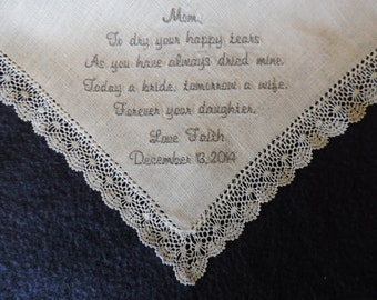 Traditional Mother of the Bride  Personalized Sentiment Handkerchief