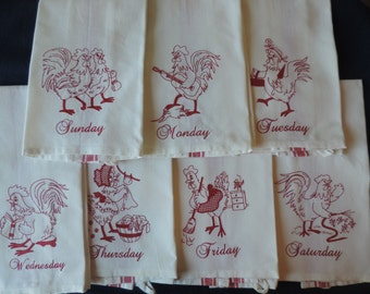 Days of the Week Rooster Towels