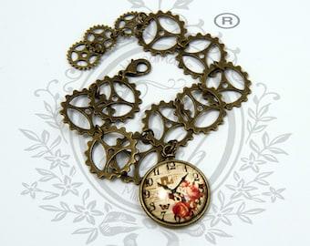 ONE PIECE. bracelet Victorian steampunk diesel punk gear mechanism clock, copper brass steel color, glass cabochon