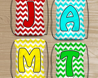 Personalized Drawstring Backpack - Chevron Monogram Backpack - Kids' Chevron Fabric Bag with Initial - Swim Bag - Beach Bag - Dance Bag