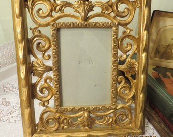 Vintage Gold Toned Scrolled Picture Frame - Memory Maker - Home Decor - Display Frame - Scrolled Surround
