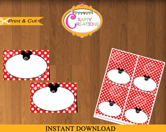 Mickey Mouse Food Labels- Red Polka Dot Mickey Mouse Place Cards- Mickey Buffet Labels- Printable Food Tent Cards- INSTANT DOWNLOAD- Crafty