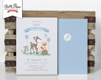 Boy Woodland Birthday Party Invitation // Woodland Party Invite // Boy // Mint & Blue // Deer Fox Raccoon // Printable Digital BP01