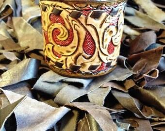 leather cuff, Tooled leather bracelet, wide leather cuff, cuff, bracelet, tooled leather, handmade leather bracelet