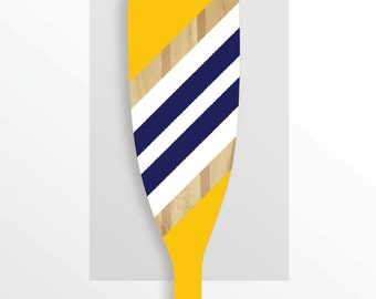 """Hand Painted Wooden Paddle - """"NAVAL"""" - Yellow, Navy and White Stripe"""