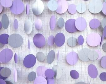 Purple and Silver Metallic Paper Circles Garland,  Wedding Garland, Baby Shower Garland, Photo Prop, Bridal Shower, Shabby Chic