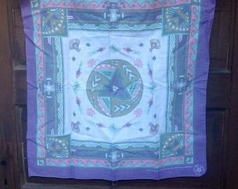Vintage 80's Lavender Southwest Print Bandana/ Headscarf