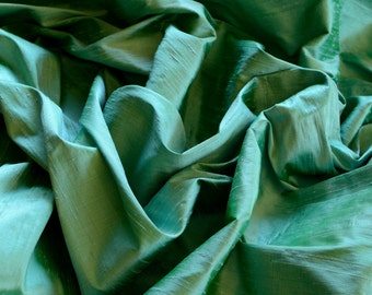 "Iridescent Pigment Green Dupioni Silk, 100% Silk Fabric, 44"" Wide, By The Yard (S-168)"