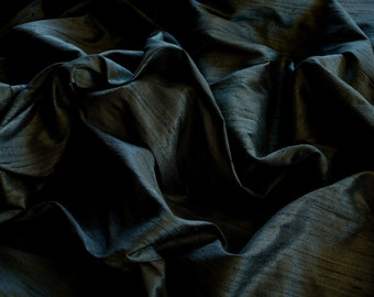 "Black Dupioni Silk, 100% Silk Fabric, 44"" Wide or 54"" Wide, By The Yard (S-140)"