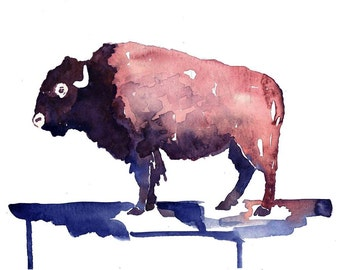 Bison, Print from Original Watercolor Painting, Home Decor, Kitchen art, Native wall artwork