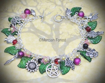 Summer Bounty Goddess and Greenman Bracelet - Pagan Jewellery, Wicca, Witch, Solstice