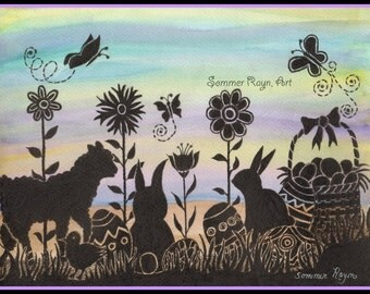 Easter wishes, Colorful eggs, bunnies and more, silhouette card or print, Watercolor, Item #0322a