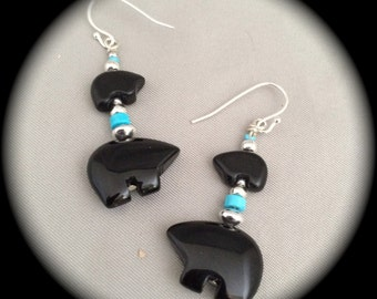 Bear Fetish Earrings - Onyx