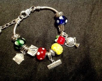 Teachers Are Our Heroes Charm Bracelet