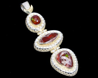 Mexican Fire 6 - Pendant - Sterling Silver and 24K Gold plating - Mexican Fire Opals