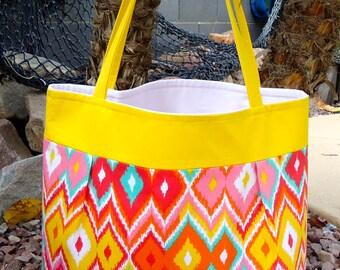 Yellow/Multicolored Tote bag, Beach bag, Diaper bag, Overnight bag, Travel bag