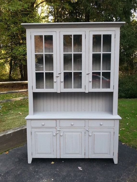 Items similar to reclaimed barn wood kitchen dining hutch china cabinet buffett with drawers on etsy - Amish built kitchen cabinets ...