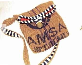 Vintage Style  Burlap Messenger/Computer Bag - Handmade Stripes