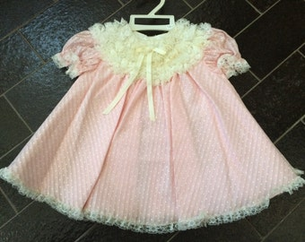 Bryan Pink Swiss Dot Baby Dress Size 18 Mos