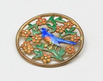 Vintage Enamel Blue Bird Circle Brooch Pin with Flowers & Branches Spring
