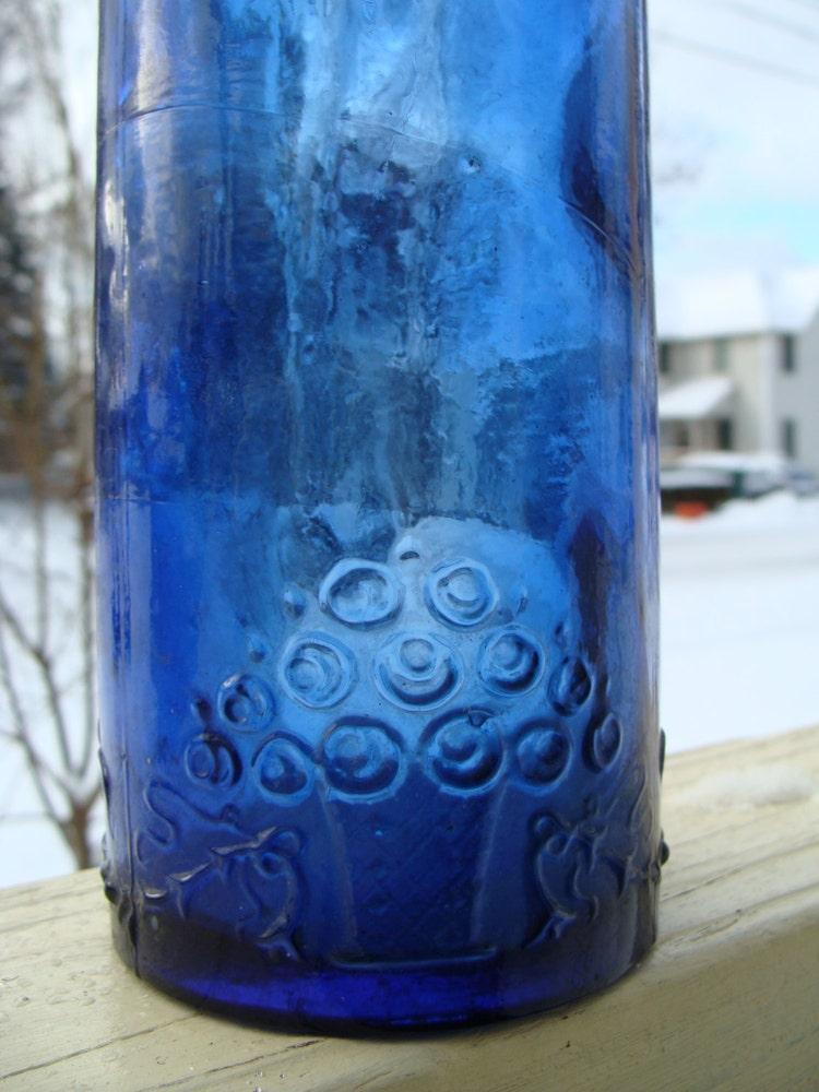 Vintage Cobalt Blue Glass Wine Bottle Decanter By