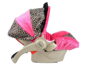 Infant Car Seat Cover- Tan Cheetah/ Hot Pink
