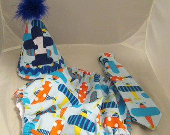 Baby Boy/ Toddler Airplane Cake Smash Outfit  for First Birthday.  Includes:  Party Hat, Tie and Diaper Cover.