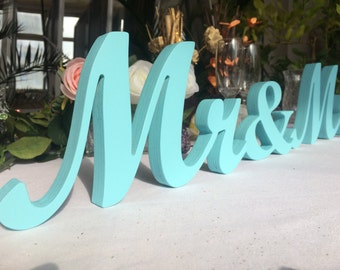 Light Blue Sign Mr & Mrs- Wedding decoration- Mr and Mrs signs for sweetheart table