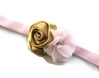 Light Pink and Gold Flower Headband - Pink Chiffon Flower and Gold Satin Rose Headband Photo Prop - Spring Headband - Easter Head Band