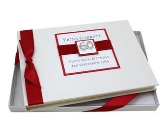 60th Birthday Guest Book - Square Design