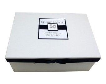 50th Birthday Keepsake Box - Square Design