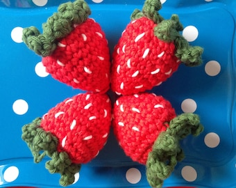 4 Crochet Strawberry - Play Food CE Tested