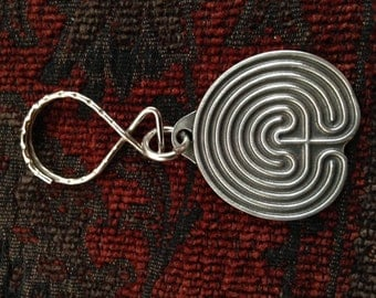 "1-1/2"" Cretan or Chartres Labyrinth Handcrafted Pewter Keychain, meditation, maze, healing arts"