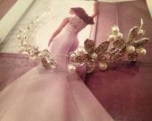 Bridal Halo, Bridal Hair Vine, Bridal Headpiece, Bridal Headband, Pearl and Crystal Flower Halo -SWEET REASONS