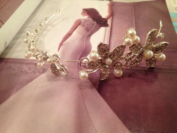 Bridal Halo, Bridal Hair Vine, Bridal Headpiece, Bridal Headband, Pearl and Crystal Flower Halo -SWEET REASONS