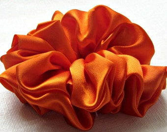 Orange Scrunchie Satin Hair Accessories for Women and Handmade Gifts by Just Scrunchies