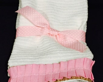 Burlap and pink ruffle  Hand Towels
