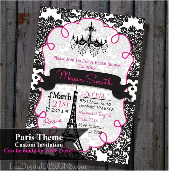 Paris bridal shower invitation pink and black eiffel tower for Paris themed invitations bridal shower