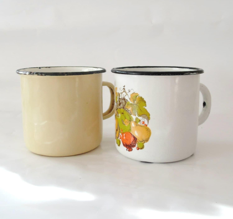 Enamel Kitchen Accessories: Vintage Enamel Mugs Industrial Kitchen Decor Mugs Made In