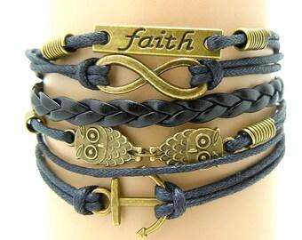 Handmade Leather bracelet, Faith Leather Bracelet ,Leather Infinity Bird Bracelet,Gift Bracelet