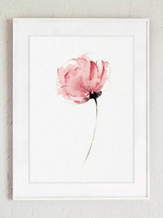 Watercolor flower abstract art print pink floral home decor for Pink wall art