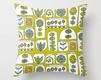 "Terrariums - illustrated Cushion Cover / Throw Pillow (16"" x 16"")"