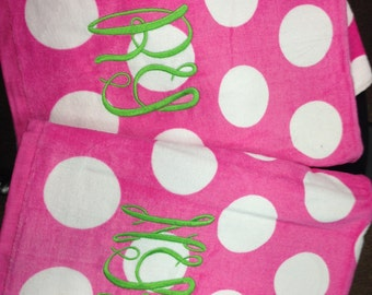 Pink Beach towel with white dots