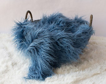 Smoky Blue Mongolian Faux Fur Prop, Newborn Baby Photo Prop, Fuzzy Layering Blanket.