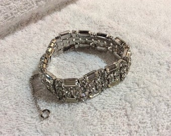 Gorgeous Vintage Rhinestone Bracelet with Safety Chain