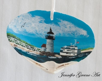 Hand Painted Nantucket Scene on a Clam Shell