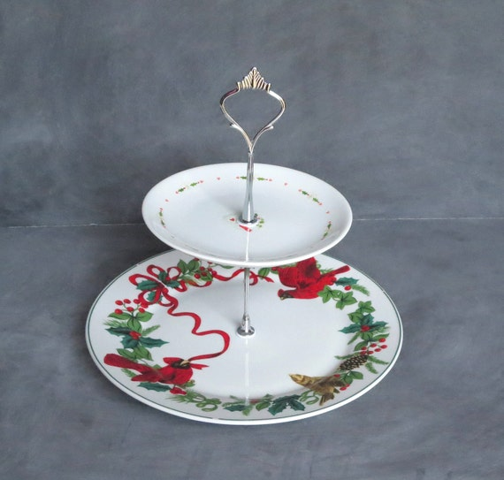 Tiered Christmas Plate Tiered Holiday Plate Stand Cardinal
