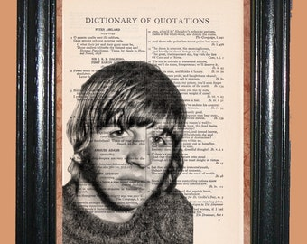 Ringo Starr - The Beatles Fab Four - - Vintage Dictionary Book Page Art - Upcycled Page Art - Collage Wall Art - Mixed Media Art