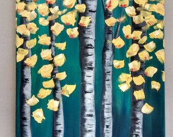 Original textured teal and yellow birch tree painting